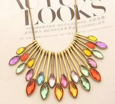 Jewelry Retro gem necklace A-325 fashion