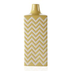 Ottavio Vase introduces bold geometric pattern and bright, vibrant color to a room. The vase is handcrafted of heavy stoneware and glazed in a striking Lemon Yellow and White zig zag pattern, while squared corners emphasize the stylish effect.