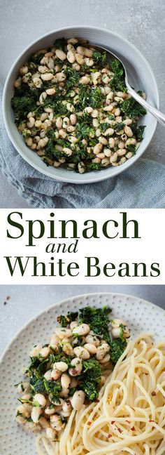 Spinach and White Beans - A super simple vegan side dish that's full of protein and flavor! Full recipe at theliveinkitchen.com @liveinkitchen #vegetarian #vegan #spinach #beans