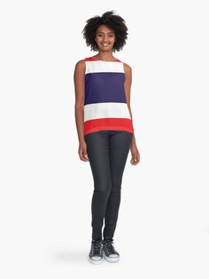 """""""Flag Of Thailand"""" Contrast Tank by ArgosDesigns   Redbubble Orange And Purple, Blue, Vintage Fabrics, Chiffon Tops, Fabric Design, Clothes, Tiles, Pastels, Geometry"""