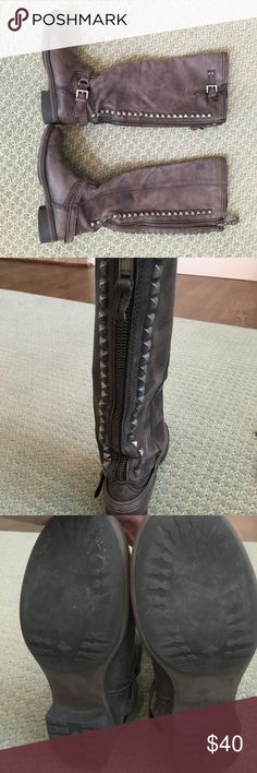 Authentic Steve Madden studded boots Super cool Steve Madden boots with studs and zipper on back of boot. These boots were purchased for $275 in the Denver Store. ***This store is not the online store***. This store is independently owned and they only use the finest leather locally in Colorado. Their quality is outstanding and everything they sell is top quality. This store will not take returns from the other Steve Madden stores and outlets because their products are better and only made…