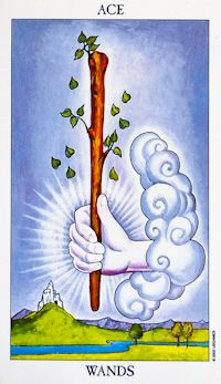 Ace of Wands,  If you are having a difficult time and draw the Ace of Wands in a reading, know that things are likely to be getting much better very soon! Keywords: Upright: Inspiration, power, creation, beginnings, potential.