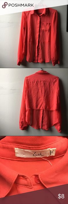 Chiffon Long-Sleeved Button Down Blouse Hot pink/salmon chiffon blouse, back is cut out up to the waistline seam for a high/low from front to back. Great for tying up into a crop too! In good condition, faint oil spot on the front pocket. Lush Tops Button Down Shirts