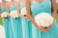 Tiffany bridesmaids with white hydrangea bouquets ❤. This would work with mint green dresses and white hydrangeas with burlap binding and pips,!