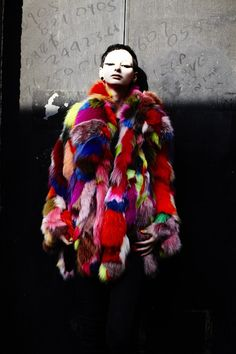 A Lot of Look by Nick Knight for Another Magazine. Coat by Pam Hogg. Patchwork Fur