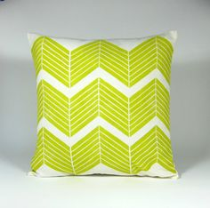 Citrus Chevron Block Printed Cushion Cover by MelMuirDesign, $50.00