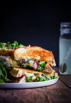 Grown-up grilled cheese sandwiches with broccolini, sautéed red onions, & red pepper flakes.