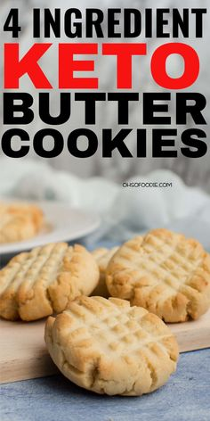 4 Ingredient Keto Butter Cookies made with almond flour. These are super easy to make and made super soft low carb cookies with only g net carbs per serving! These taste like real butter cookies t Keto Butter Cookies, Low Carb Cookies, Low Carb Sweets, Almond Flour Cookies, Healthy Cookies, Almond Flour Desserts, Keto Chocolate Chip Cookies, Almond Flour Recipes, Delicious Cookies