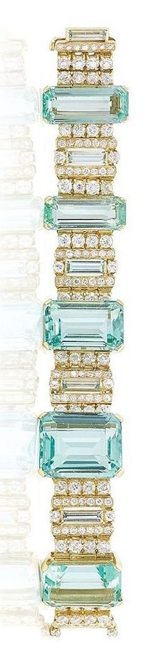 Gold, Aquamarine and Diamond Bracelet- ♔LadyLuxury♔