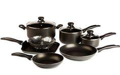T-fal Basic Non-Stick Easy Care Cookware Set, Black Cookware Set, Bon Appetit, Cool Stuff, Easy, Walmart, Coupon Deals, Steamer, Stars, Kitchen
