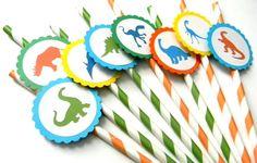Dinosaur theme party straws - dino birthday!