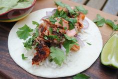 Salmon Tacos with Avocado Cream by @Hungry Healthy Happy . at Hungry Healthy Happy