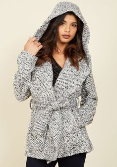 Styled for the Climate Jacket. Excitedly examining the forecast, you review the digits and conclude it's the perfect temp to debut this black and white jacket from Jack by BB Dakota! #grey #modcloth