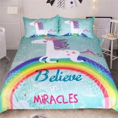 Cheap bed duvet covers, Buy Quality unicorn bedding set directly from China bedding set Suppliers: BeddingOutlet Unicorn Bedding Set Believe Miracles Cartoon Single Bed Duvet Cover Animal for Kids Girls Rainbow Bedspreads Cute Bedding, Kids Bedding Sets, Best Bedding Sets, Duvet Bedding Sets, Bed Duvet Covers, Duvet Cover Sets, King Comforter, Unique Bedding, Comforter Cover