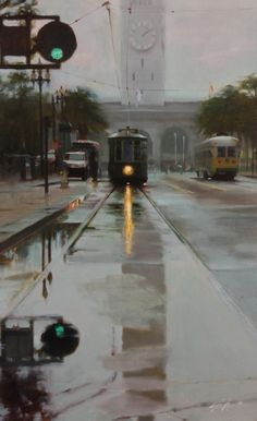 "Oil painting, ""ferry F-line"" 8.5x14 in., by Jonathan Ahn"