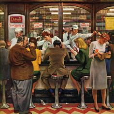Marmont Hill - Lunch Counter by John Falter Painting Print on Canvas - Multi-color (40 x 40)