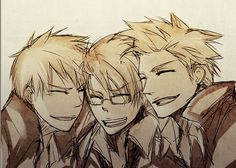 The Awesome Trio! Hetalia America, Denmark, and Prussia (My favorite of all the trios)