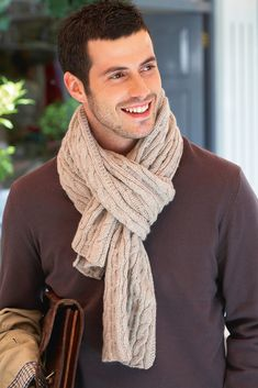 Mens Woollen Cable Scarf