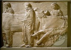 Greek Art: Oxen Led to Sacrifice. Marble relief from the North Frieze of the Parthenon. c.442-438 BC. Acropolis Museum, Athens, Greece.