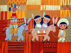 illustration by Mary Blair (possibly even concept art for It's a Small World ride). love, Love, LOVE her use of patterns and mix of prints!