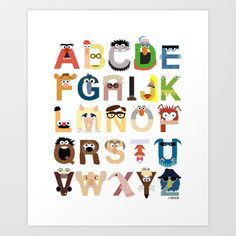 Muppet Alphabet Art Print by Mike Boon - $18.00....very cute for a child's room or an elementary teacher's classroom