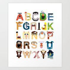 Muppet Alphabet Art Print by Mike Boon - $18.00