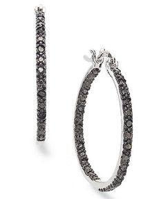 0fccddb5a Victoria Townsend Sterling Silver Earrings, Sterling Silver Black Diamond  Hoop Earrings (1/4 ct. t.w.) & Reviews - Earrings - Jewelry & Watches -  Macy's