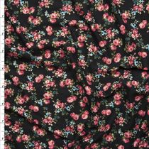Pink Blue and Green Mini Rose Floral on Black Double Brush Poly Spandex