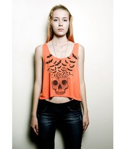 Bat house design urban skull shirt with bats flying crop top tank top in orange. Halloween is here at http://www.bathousedesign.com.