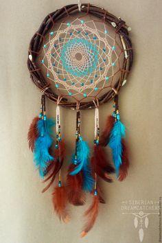 """Купить Ловец снов """"Осенний вечер"""" - голубой, ловец снов, ловушка снов, ловушка для снов"""