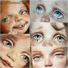 """Еще в детстве в мои школьные тетрадки были изрисованы глазами! Сейчас это самая любимая часть работы над куклой. """"Глаза-отражение души!"""" Стоит росписать глаза, как видишь настроение, характер новой куклы."""