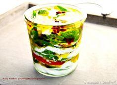 Mozzarella w zalewie - Przepis - Smaker.pl Mozzarella, Shot Glass, Chili, Vegetables, Tableware, Food, Dinnerware, Chile, Tablewares