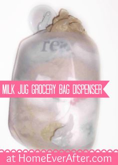 Milk Jug Grocery Bag Dispenser at Home Ever After by Danelle Ice  http://www.homeeverafter.com/milk-jug-uses-kitchen/ #HomeEverAfter #DIY #MilkJugs