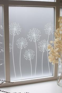 Allium window film design by Hannah Nunn, only available at The Window Film Company. White print on frosted window film, for privacy & style at home Glass Sticker Design, Glass Film Design, Window Glass Design, Frosted Glass Design, Frosted Glass Window, Etched Glass Windows, Etched Glass Door, Glass Partition Designs, Sandblasted Glass