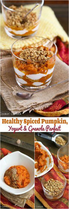 Healthy Spiced Pumpkin, Yogurt and Granola Parfait...254 calories and 7 Weight Watchers PP | cookincanuck.com #breakfast #recipe