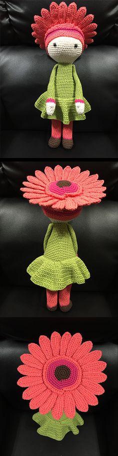 Gerbera Gemma flower doll made by Estrella R M - crochet pattern by Zabbez ༺✿Teresa Restegui http://www.pinterest.com/teretegui/✿༻
