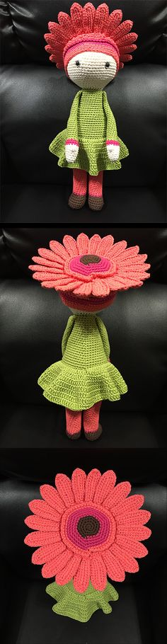 Gerbera Gemma flower doll made by Estrella R M - crochet pattern by Zabbez
