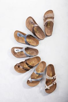 Birkenstock gizeh sandals, Birkenstock mayari sandals and the Birkenstock arizona sandals
