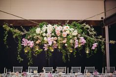 Hanging floral chandelier by Chanele Rose flowers as seen on Wedded Wonderland image by Istyle photography