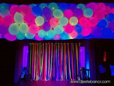 the hanging streamers Neon Birthday, 13th Birthday Parties, Birthday Party Themes, Neon Party Themes, Glow Party Decorations, Foam Party, Blacklight Party, Disco Party, Sleepover Party