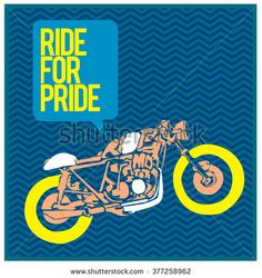 vector motorbike illustration ride for pride  colorful poster