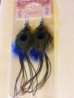 Fabulous Peacock Feather Earrings with Quill Tail and Swarovski crystals. Feather Jewelry, Feather Earrings, Peacock And Peahen, Swap Shop, Hill Park, Beacon Hill, White Feathers, Earring Backs, Blue Beads