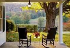 I simply adore porches. Porches invite you to slow down…sit, rest, soak up some fresh air, replenish. Take a tour with me to some amazing porches. Peaceful Places, Beautiful Places, Country Life, Country Living, Country Charm, Outdoor Spaces, Outdoor Living, Vie Simple, Rocking Chair Porch