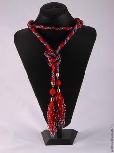Купить Лариат Красный - лариат, лариат из бисера, лариат купить, лариаты, подарок, стильное украшение