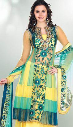 Yellow Nett Churidar Anarkali Suit-KPW-20138