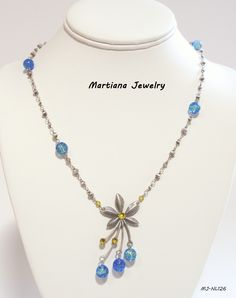 "2"" Flower Petal Pendant 18"" Necklace - Antique Silver Plated Flower Petals with Yellow Swarovski Crystals and Blue Crackle Beads, Antique Silver Plated Disc Chain  #martianajewelry amazon.com/handmade/MartianaJewelry,  MartianaJewelry.com"