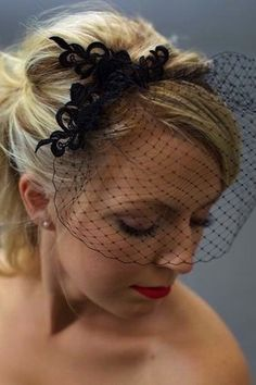 Whether your wedding is subtly influenced by or fully committed to the Halloween theme, check out these creative ideas for your quirky big day. Black Birdcage Veils, Fascinator Hairstyles, Hair Fascinators, Nye Outfits, Bad Hair Day, Wedding Veils, Purple Wedding, Bridal Hair, Wedding Hairstyles