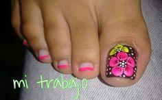 Fingernail Designs, Toe Nail Designs, Nail Polish Designs, Pretty Toe Nails, Cute Toe Nails, Pedicure Designs, Pedicure Nail Art, Toe Nail Color, Toe Nail Art