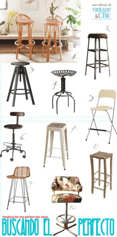 10 taburetes altos para tu cocina · 10 bar stools for your kitchen - Vintage & Chic. Pequeñas historias de decoración · Vintage & Chic. Pequeñas historias de decoración · Blog decoración. Vintage. DIY. Ideas para decorar tu casa