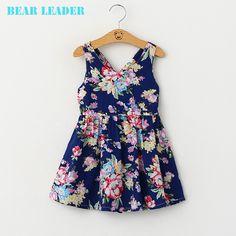 New Summer Style Dress Girls Clothes Hollow Out Bow Back Print Dress Sleeveeless Princess Dress